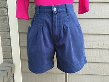 Vintage ESPRIT DE CORP Navy Blue Cotton Cuffed High Waist Walking shorts 9/10