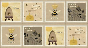 Bumble-Bee-Hive-Honey-Bees-Cotton-Fabric-Studio-E-Save-Our-Bees-24-034-X44-034-PANEL