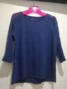Womens Top V Neck Terracotta T-Shirt Rust Macrame Plus Sizes 8 to 20