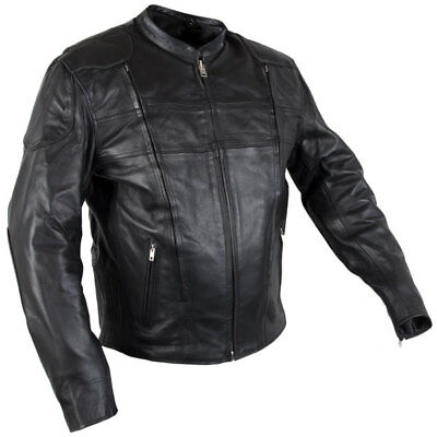 Xelement XS-630 /'Recoil/' Men/'s Black Leather Motorcycle Jacket