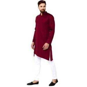 Men-039-s-Kurta-Shirt-Long-Sleeve-Traditional-Kurta-Indian-Trendy-long-Top-Shirt