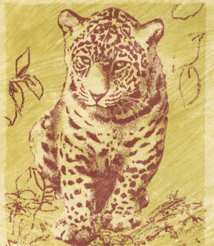 Tigers Leopards in Frames on Spotted Background  Yellow//Tan  Wallpaper  TS38068
