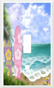 Image Is Loading Tropical Palm Tree Surfboards Flip Flops On Beach