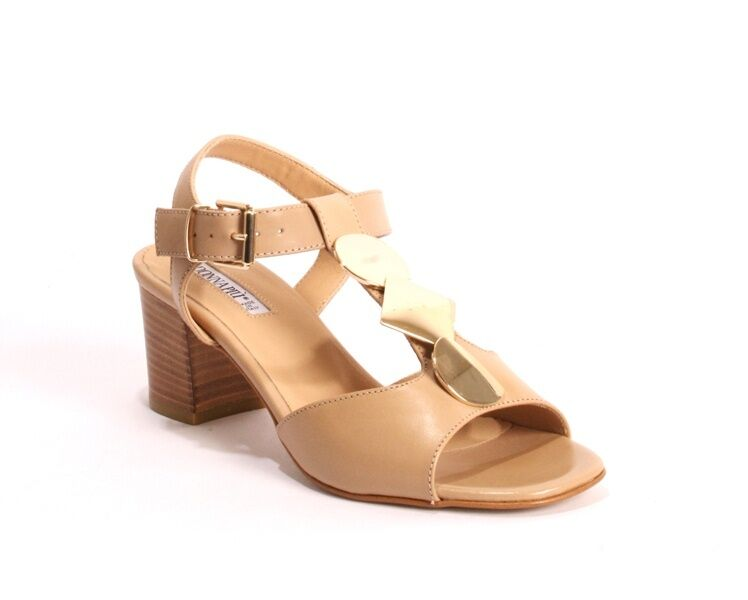 women Piu 5252c Comfort Beige Leather Heel Ankle T-Strap Sandals 41   US 11
