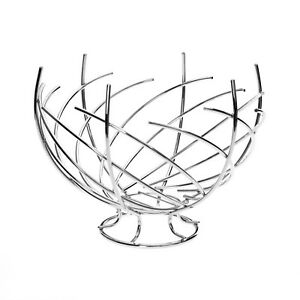 Premier-Housewares-31cm-spirale-design-Twisted-Chrome-Frutta-Ciotola-Cesto-di-stoccaggio