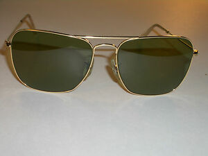 c7041d645f0 Details about 1960 s 58MM VINTAGE B L RAY BAN ARISTA RB3 TRU-GREEN CARAVAN  AVIATORS SUNGLASSES