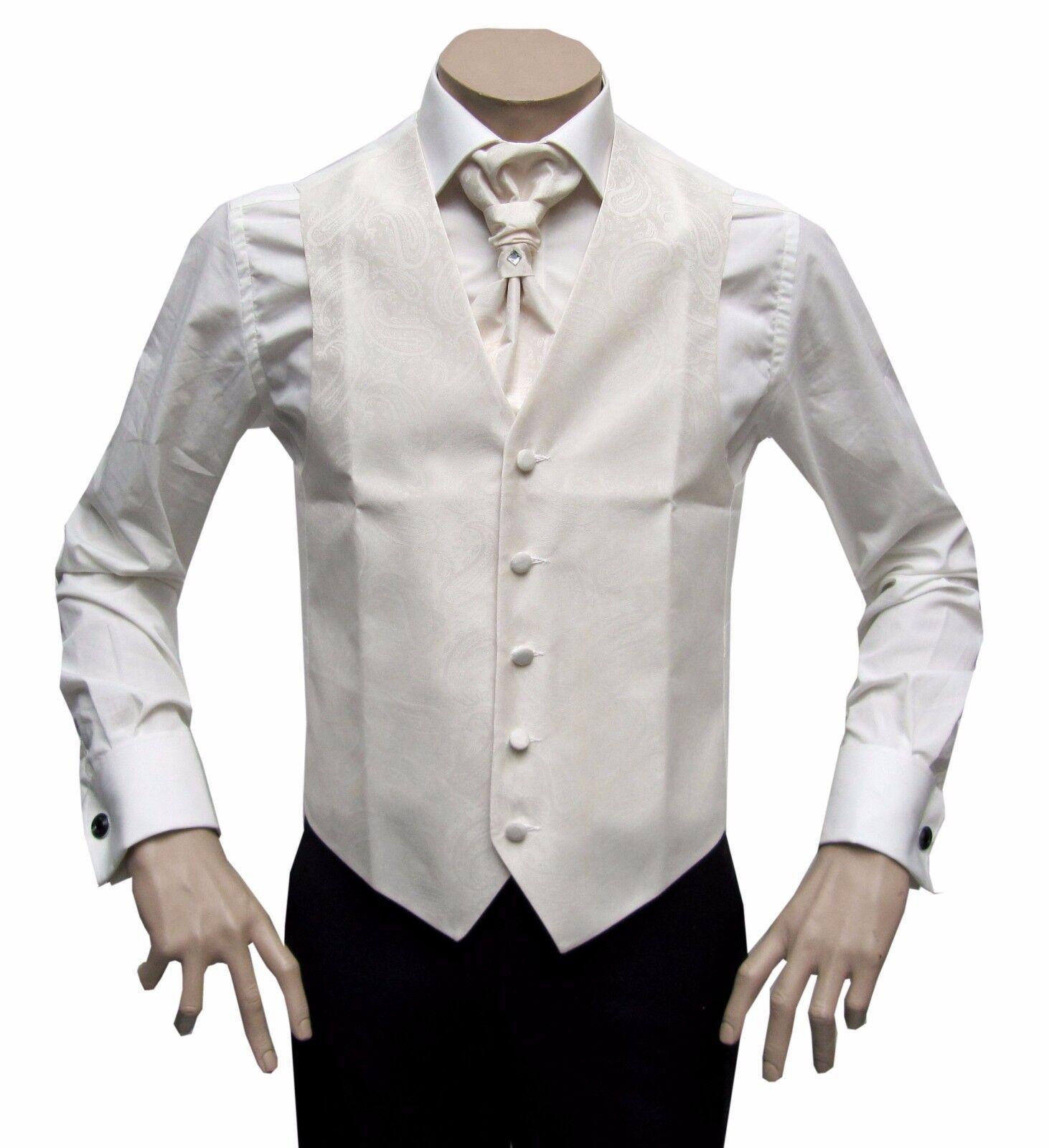 Men's Wedding Waistcoat 3-teilig Gr.56 Ivory Cream