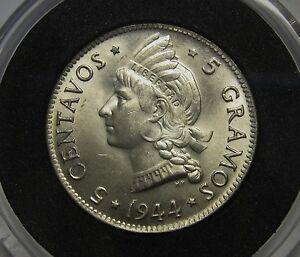 Gorgeous-1944-Dominican-Republic-Five-5-Silver-Centavos-Superb-Gem-BU-NICE-COIN