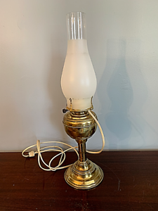 vintage-brass-oil-lamp-converted-electric-nice-shape-includes-frosted-chimney