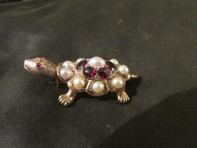 Garnet & Cultured Pearl Tortoise/turtle Brooch Stunning Vintage Rare 9ct Gold Fine Jewellery