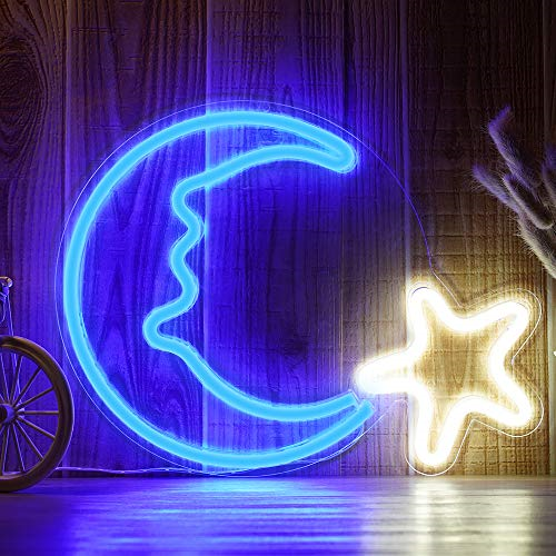 Led Moon Star Shaped Neon Sign Light