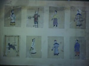 Serie-8-Aquarelles-XIXe-Papier-de-moelle-papier-de-riz-Chine-China-tortures