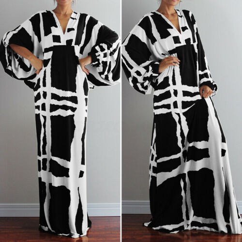 VONDA 8-24 Women Printed Batwing Maxi Dress Party Evening Cocktail Long Dress