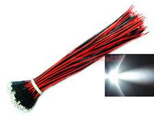 100 Verkabelte WEISSE LEDs 12V 3mm weiß WHITE LED mit Kabel Kostenloser Versand