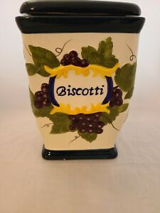 Nonni-s-Biscotti-Square-Hand-Painted-Fruit-Motif-Canister-amp-Cobalt-Blue-Lid-9