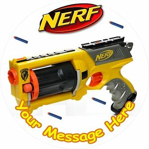 Image is loading NERF-GUN-ROUND-7-5-034-CAKE-TOPPER-