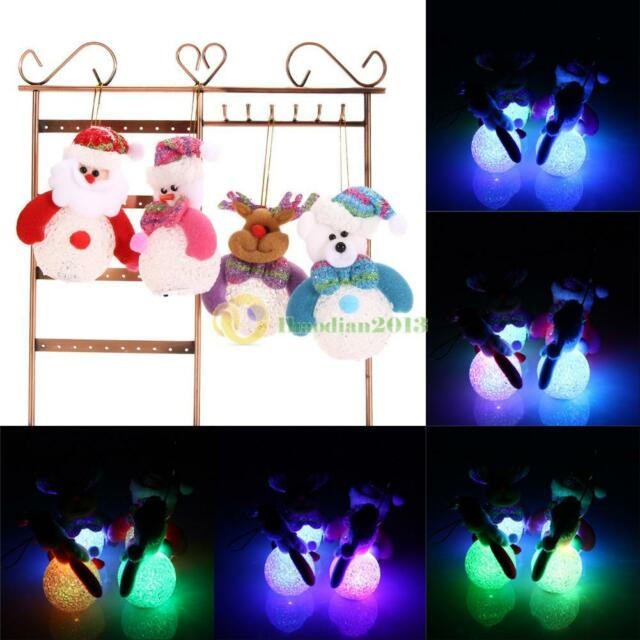 4x Snowman Santa Claus Ornaments Christmas Tree Decor LED Light Festival Decor