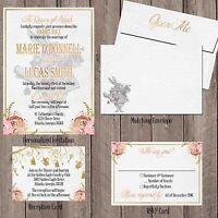 Alice in Wonderland Vintage Wedding Invitation Set Pink Gold Personalized Custom