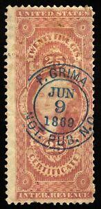 B699 U.S. Revenue Scott #R44c 25c Certificate, 1869 notary handstamp cancel