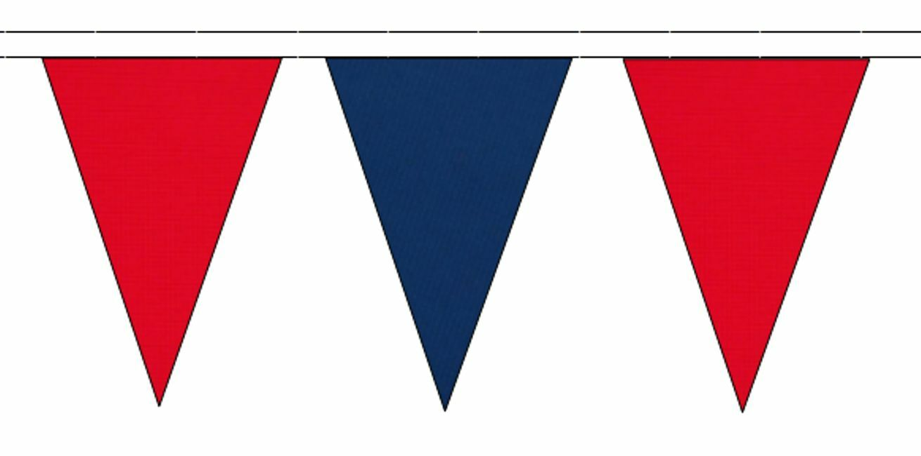 rouge & Royal bleu Triangular Flag Bunting - 50m with 120 Flags
