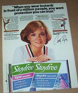 1979 Stayfree Maxi Pads Vintage Magazine Ad Page Cathy Rigby Uneven Bars
