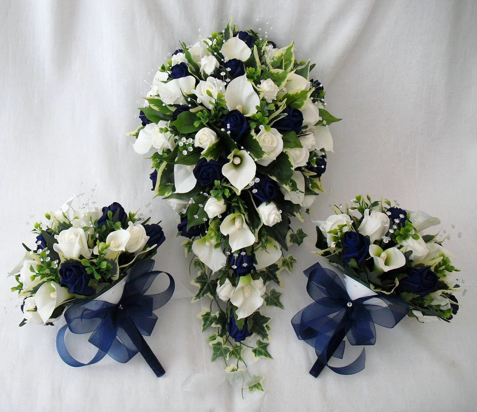 Mariees Larme Bouquet 2 Petites Fleurs Bleu Cala Lys Bleu Fleurs