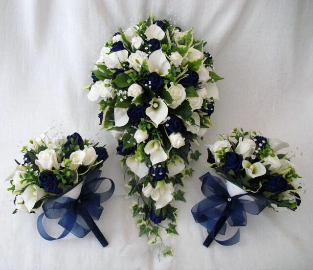 Brides Bouquet and 2 Posies Cala Lilies Navy Roses Artificial ...