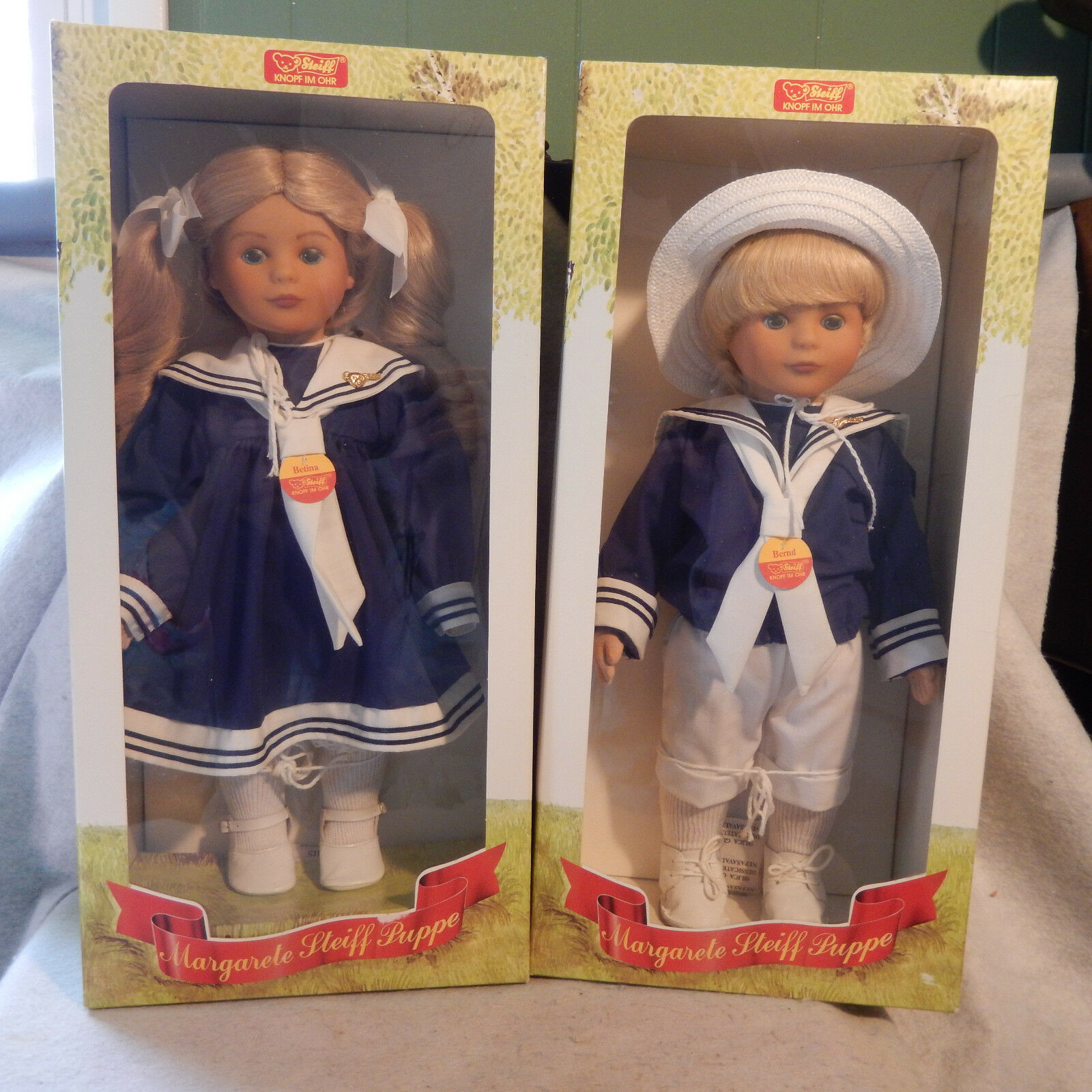 1987 Betina & Bernd Margarete Steiff Puppe Vinyl Doppel Matrosen MIB Paar 16B
