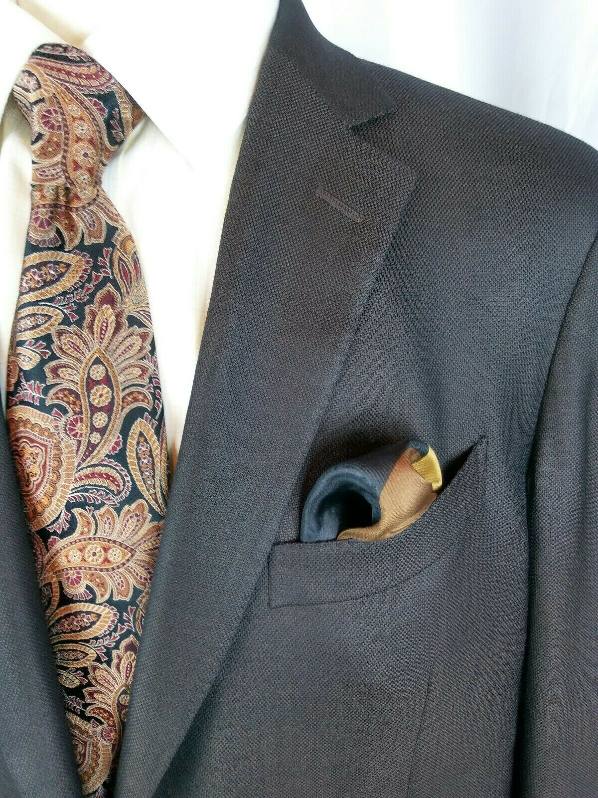 Ermenegildo Zegna Trofeo Silk Blazer 46L Brown 2 Btn D. Vent Surgeon Sleeves