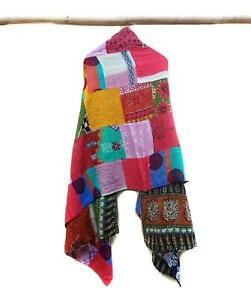 Cotton-patchwork-Kantha-Scarf-Head-Wrap-Stole-Dupatta-Hand-Quilted-Women-Shawl