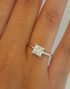 2abd8b4bba2 Details about 14k Solid White Gold 1.5 CT Diamond Engagement Ring Princess  Cut Solitaire