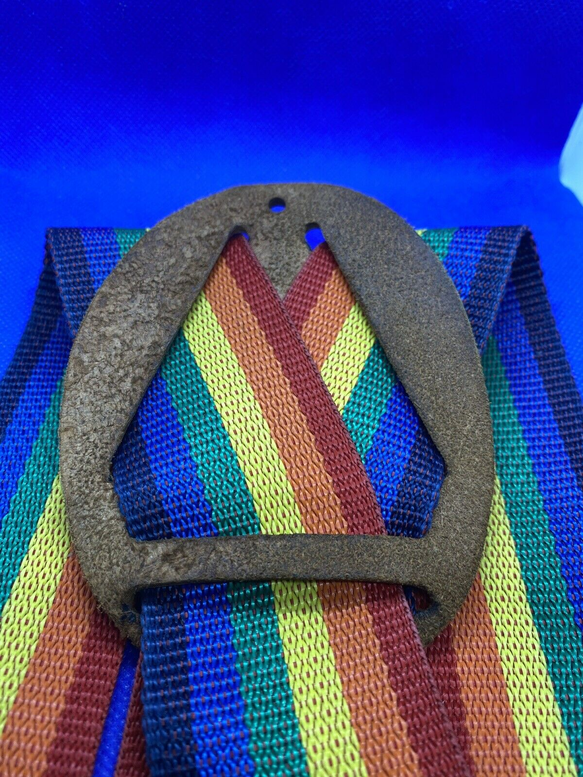 Vintage KLEIN Tools Rainbow Stripe SUSPENDERS Mor… - image 3