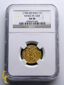 1752-1762-Italy-1-Zecchino-Ducat-Gold-Coin-Venice-FR-1405-Graded-by-NGC-AU-58