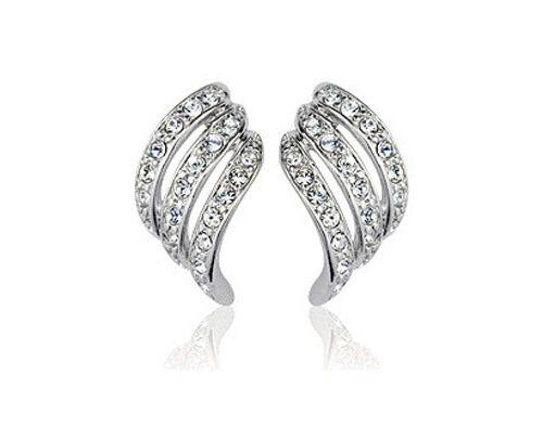 Women Diamante Shine Sparkle Bridal Wedding Wave Water Drop Studs Earrings E323