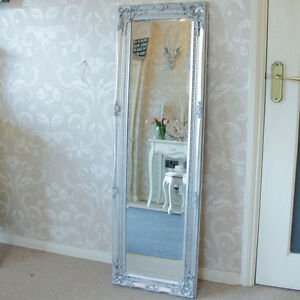 Tall Wall Mirrors tall slim silver wall mirror shabby vintage chic french ornate