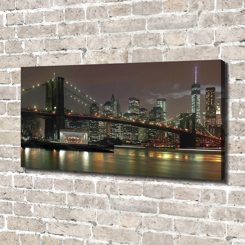 Leinwandbild Kunst-Druck 140x70 Bilder New York bei Nacht
