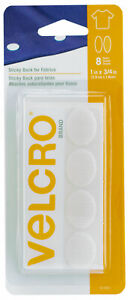 Velcro-Sticky-Back-For-Fabrics-Peel-amp-Stick-Permanent-Bond-White-1-034-x-3-4-034-Ovals