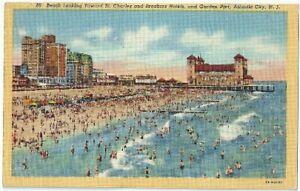 Beach-Toward-St-Charles-Breakers-Atlantic-City-NJ-Hotel-Postcard-New-Jersey