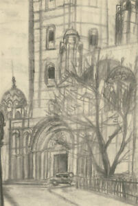Mid 20th Century Charcoal Drawing - Westminster Cathedral
