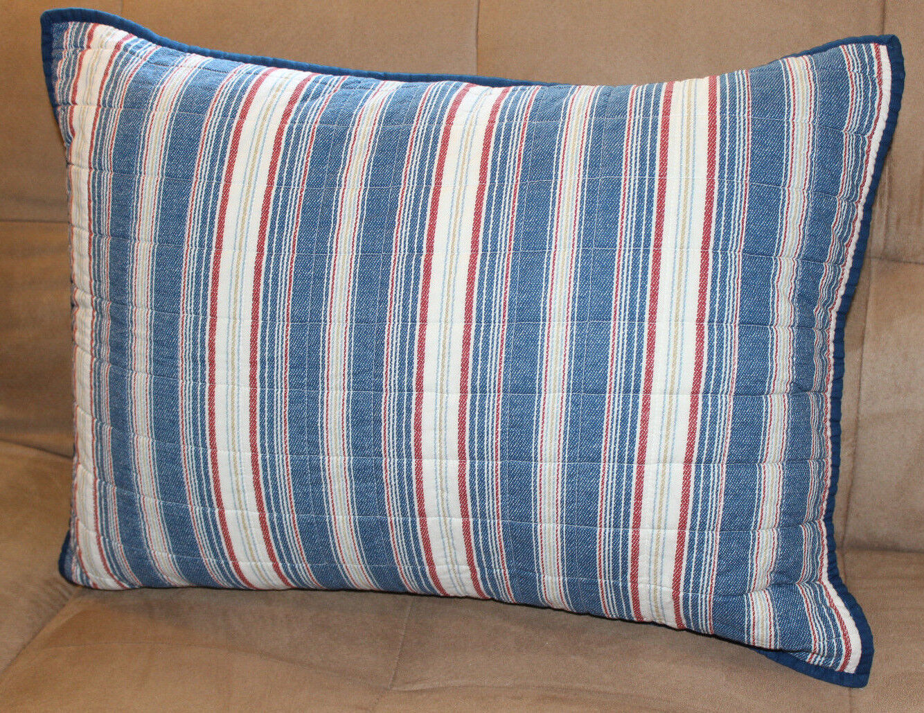 Nautica Quilted Pillow Shams Striped Red White blueeee Standard Pair