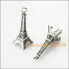 6 New Eiffel Tower Tibetan Silver Tone Charms Pendants 11x31mm