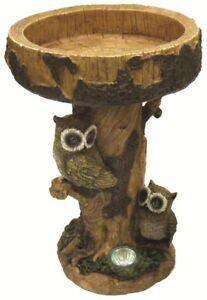 Appris Gardenwize Solaire Del Lumière Owl Jardin Patio Decor Birdbath Bird Bath Table-nouveau-afficher Le Titre D'origine