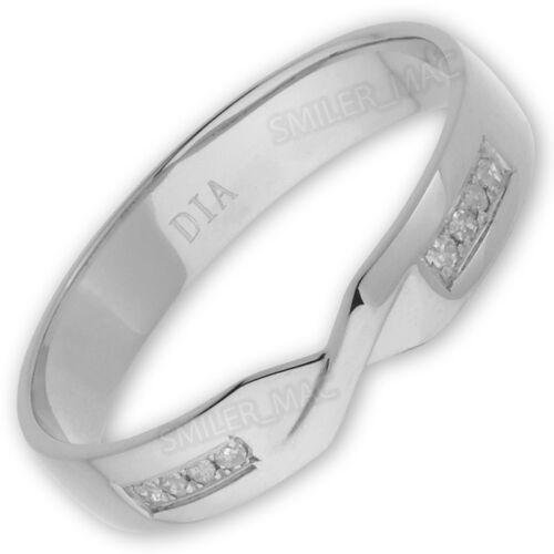 9ct White Gold 2x4 Diamond Set 4mm Twist Crossover Ring Hallmarked Wedding Band