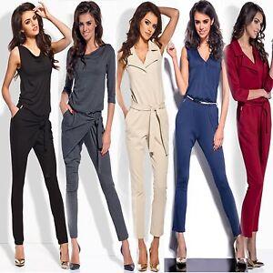 Damen-Hosenanzug-Overall-Catsuit-Anzug-Einteiler-Jumpsuit-S-M-L-viele-Modelle