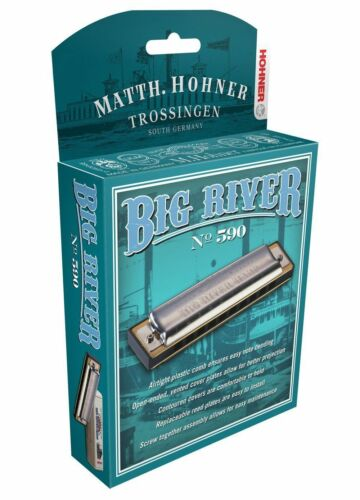 HOHNER BIG RIVER 590 HARMONICA F# HARP BRAND NEW CASE FACTORY SEALED NEW SALE