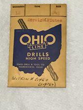 Vtg Ohio Hs Drill Straight Flute 43 089 Dia 2 14 Oal1 14 Flute Length