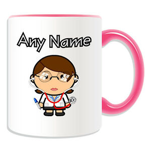 Details about Personalised Gift Female Doctor Mug Money Box Cup Brown Hair  Stethoscope Glasses