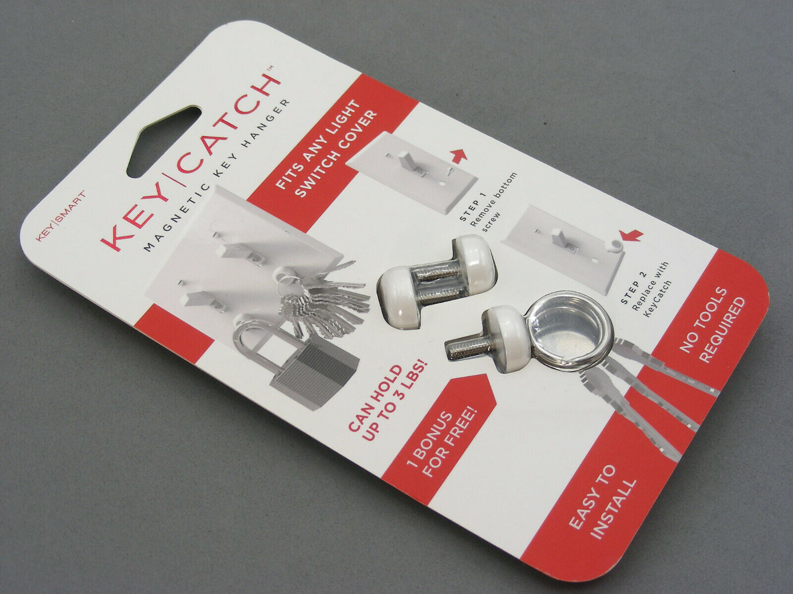 Magnetic Key Smart Hanger Pack of 3 Key Catch FREE SHIP Screw into switch plate