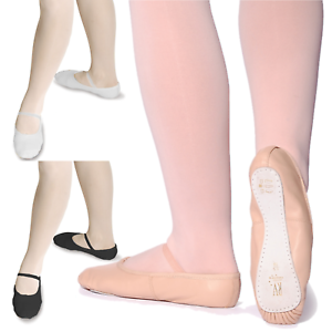 6fee75ec29 LEATHER BALLET SHOES *PRE SEWN ELASTIC*PINK,BLACK,WHITE-GIRLS/CHILDS ...