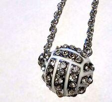 New Rhinestone Half Ball Volleyball Crystal Necklace - Us Seller